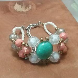 Handmade beaded cuff style bracelet